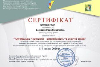 Бегларян Илона сертификат 3