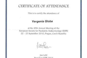 Глоба Евгения Викторовна - сертификат 11