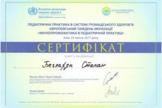 Бегларян Степан - Сертификат 6