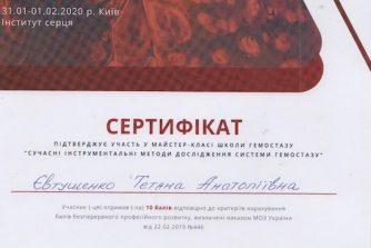 Евтушенко Татьяна Анатольевна сертификат 1