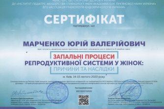 Марченко Юрий Валерьевич сертификат