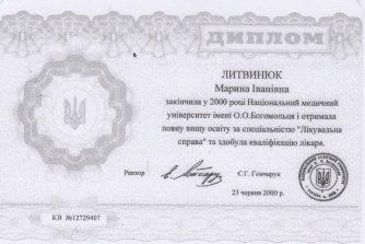 Литвинюк Марина Ивановна невропатолог сертификат 4