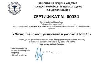 Бегларян Илона сертификат 17