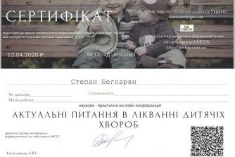 Бегларян Степан сертификат