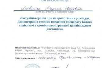 Литвинюк Марина сертификат