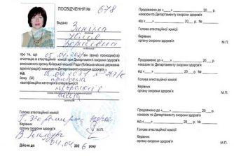 Зикіна сертифікат